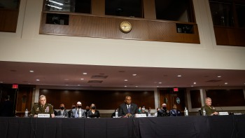 Three Pentagon officials, Defense Secretary Lloyd Austin, Joint Chiefs of Staff Chairman Gen. Mark Milley, and head of the Central Command Gen. Frank McKenzie, testified on Afghanistan and China.